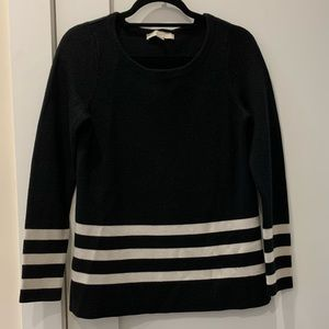 Loft Black sweater with white stripes